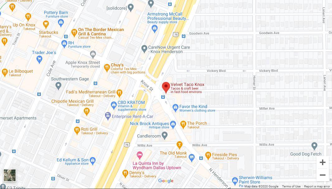 Dallas – Knox/Henderson Google Maps Desktop