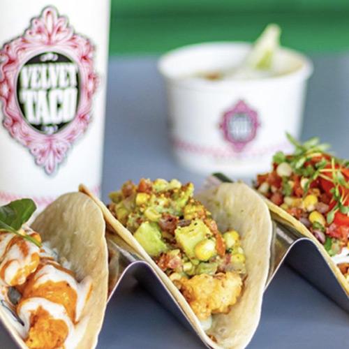 Close up of three tacos